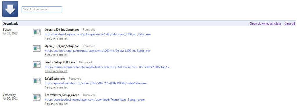 Удаление загруженных файлов в Google Chrome