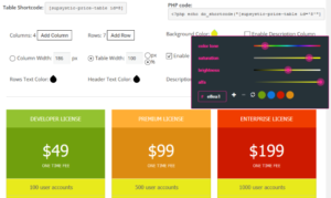 pricing table wp