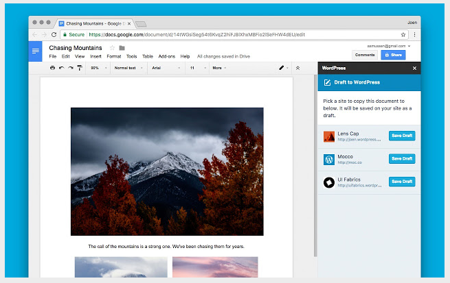WordPress теперь доступен в Гугл Драйв