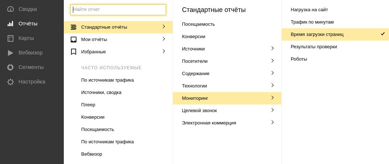 скорость загрузки сайта в Яндекс Метрике