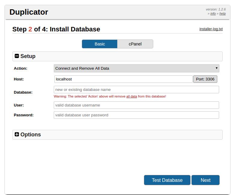 Перенос WP сайта на другой хостинг - настройка базы данных