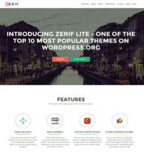 Бесплатный шаблон лендинг пейдж Zerif Lite