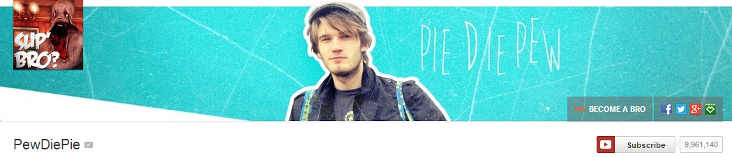 Обложка канала Pewdiepie 10 млн. подписчиков