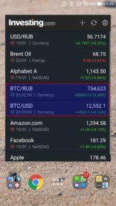 Курс биткоина на виджете для Андроида investing.com